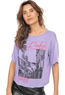 Camiseta Dimy Estampada Lilás/Rosa