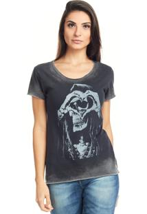 Camiseta Bossa Brasil Caveira S2 Preto Marmorizado