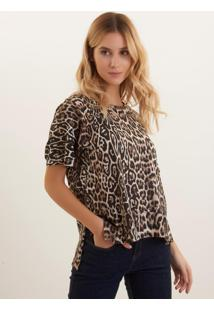 Camiseta Bobô Onça Malha Estampado Feminina (Estampado, G)