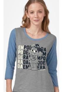 Camiseta Manga Longa Feminina Turma Da Mônica Empoderada - Feminino-Cinza+Azul