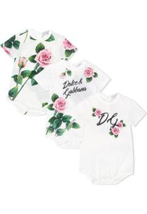 Dolce & Gabbana Kids Conjunto 3 Bodys Com Estampa De Rosas - Branco