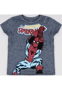 Camiseta Infantil Homem Aranha Manga Curta Azul Escuro