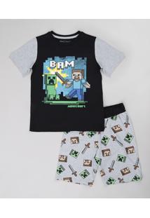 Pijama Infantil Minecraft Manga Curta Preta