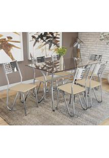 Conjunto Sala De Jantar Kappesberg Mesa E 6 Cadeiras Cromado/Nude