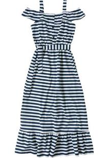 Vestido Azul Marinho Longo Estampado
