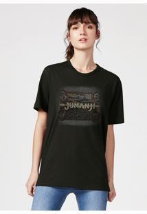 Camiseta Hering Manga Curta Estampada Jumanji Verde - Verde - Feminino - Dafiti