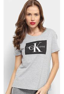 Camiseta Calvin Klein Básica Estampa Logo Feminina - Feminino-Cinza