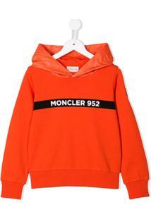 Moncler Kids Moletom Com Logo E Capuz - Laranja