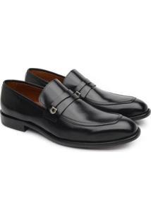 Sapato Social Couro Jacometti Masculino Solado Couro Loafer - Masculino-Preto