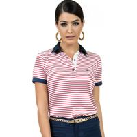 Camisa Pólo Listras Plus Size feminina  3af8f1c3497d3