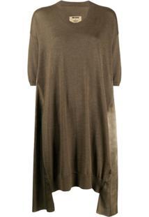 Uma Wang Vestido Evasê Mangas Curtas - Marrom
