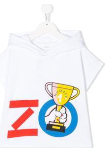 Kenzo Kids Moletom Mangas Curtas Com Logo E Capuz - Branco
