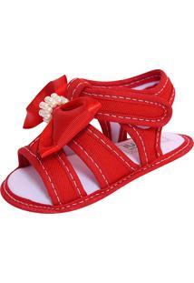 Sandália Para Bebê Lugui Menina Com Laço E Pérolas Vermelho