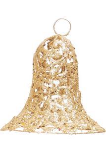 Enfeite De Sino Com Glitter- Dourado- 20Xã˜15Cm- Cromus