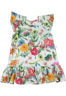Vestido Ano Zero Tricoline Estampado Digital Dylan Floral Summer Branco