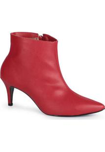 Ankle Boots Feminina Lara Bico Fino Básica Vermelh