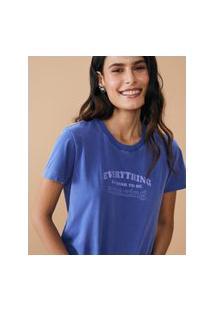 Amaro Feminino T-Shirt Regular Estonada Amazing, Azul