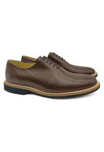 Sapato Oxford Masculino Couro Wholecut Bico Redondo Conforto Café 45 Café