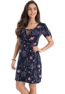 Vestido La Mandinne Transpasse Estampado Floral Azul-Marinho