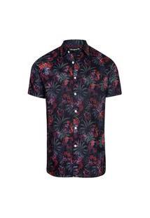 Camisa Masculina Estampa Digital Floral Pto+Vinho