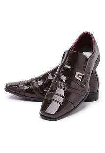 Sapato Social Masculino Mr Shoes Verniz Marrom