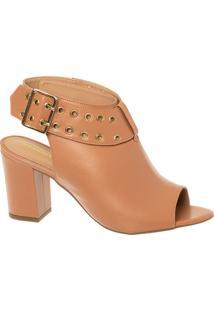Sandal Boot Terracota Em Couro Com Salto Bloco