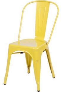 Cadeira Iron Tolix Vintage Aço Carbono Anodizado Com Pintura Epóxi Amarela