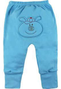 Calça De Bebê Com Pé Reversível Azul Com Bordado No Bum Bum Azul