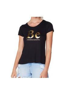 Camiseta Hering Feminina 4Epk Metalizada Visco Preto