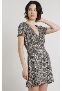 Vestido Feminino Curto Estampado Animal Print Com Transpasse Manga Curta Bege