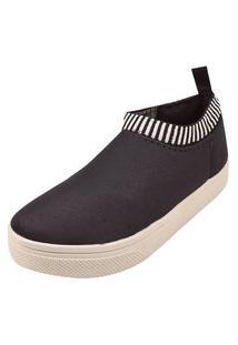 Tênis Meia Rosa Chic Calçados Calce Fácil Slip On Slipper Shoes Elástico Preto