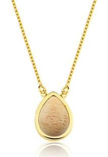 Colar Toque De Joia Gota Amazonita Nude - Feminino-Dourado