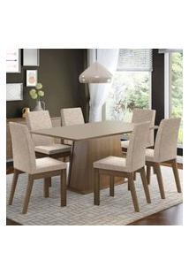 Conjunto Sala De Jantar Madesa Rebeca Mesa Tampo De Madeira Com 6 Cadeiras Rustic/Crema/Fendi