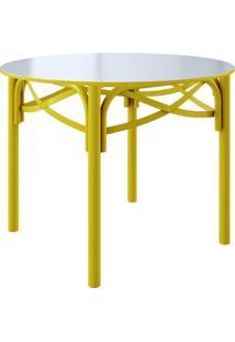 Mesa De Jantar Redonda Katrina Ii Amarelo 110 Cm