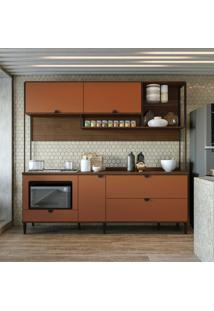 Cozinha Compacta Kath 5 Pt 3 Gv Jacarandá E Terracota
