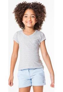 Camiseta Infantil Listra Floresta Reserva Mini Feminina - Feminino-Cinza Claro