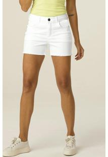 Shorts Branca Comfort Em Sarja