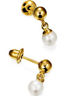 Brinco Em Ouro 18K Pendulo Com Pérola - Mon Chou - Br12037