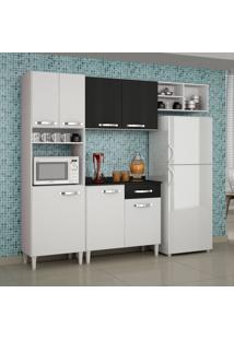 Cozinha Completa Balcão Com Tampo 4 Peças Granada Sallêto Móveis Branco/Preto