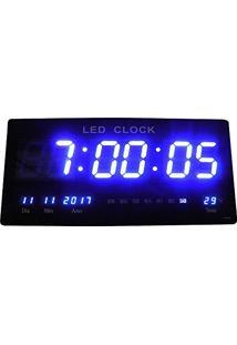 4d52916830e Relogio Bivolt Parede Digital De Led 46Cm Termo Data Hora Azul (Rel-61)