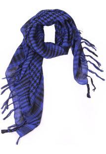 Lenço Real Arte Xadrez Azul/Preto