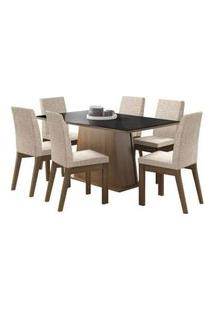 Conjunto Sala De Jantar Madesa Milena Mesa Tampo De Vidro Com 6 Cadeiras Rustic/Preto/Fendi Rustic/Preto/Fendi