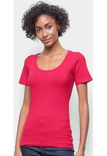 Camiseta Forum Canelada Gola U Feminina - Feminino-Vermelho