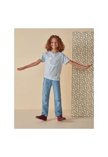 Amaro Feminino Camiseta Infantil Oversized Estampa Smile, Azul Claro
