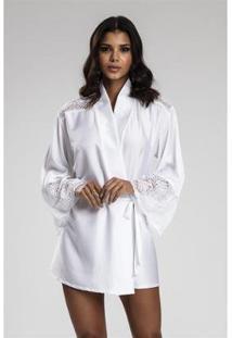 Robe Recco De Charmeuse Prime E Renda - Feminino-Branco