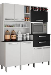 Cozinha Compacta Monte Rey 7Pt 2Gv Branco E Preto