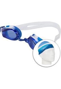 Kit De Natação Speedo Swim 3.0 Com Óculos + Touca - Infantil - Azul