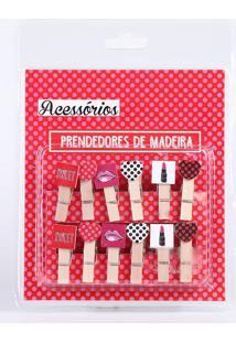 Kit 12 Mini Prendedores Decorativos Porta Papel Marisa