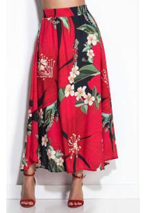 Saia Midi Floral Pietra Vermelha