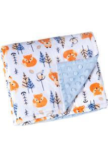 Manta Fleece Dupla Face Bebê Estampada Mini 82 Cm X 82 Cm Com 1 Peça - Produto Importado Lepper Azul